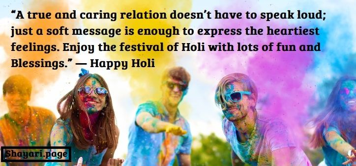 Cheerful and happy soiled friends throw bright paints on young people holi paints on spring summer festival. Holi party concept.